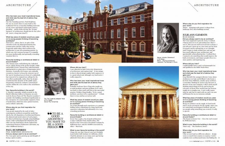 In Ex Designs Director Julie Ann Features As One Of Exeters Architects The Article New Issue Exeter Living Magazine